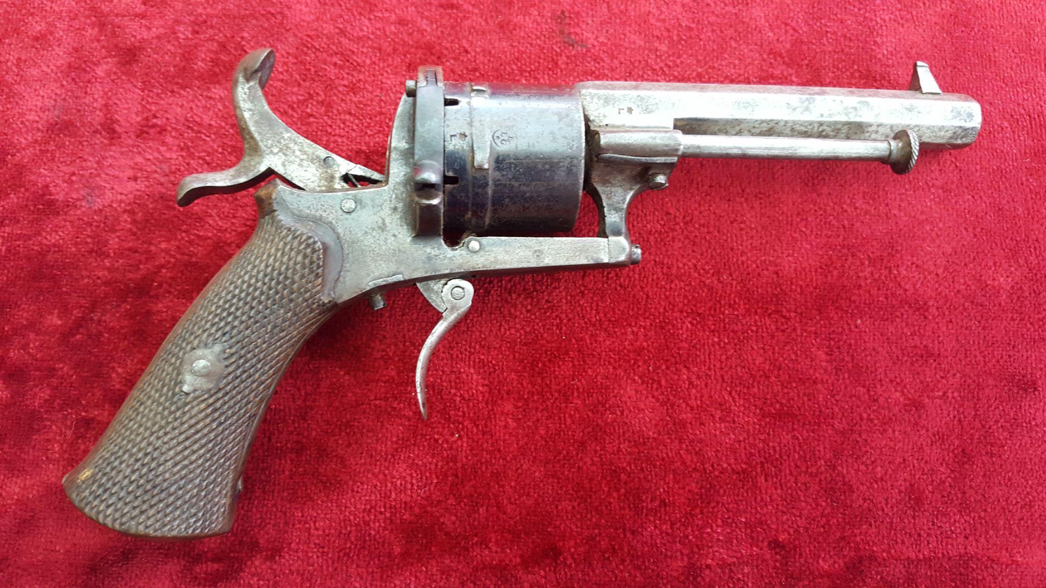 X X X Sold X X X A Good Belgian 5 Shot 7mm Antique Pinfire Revolver
